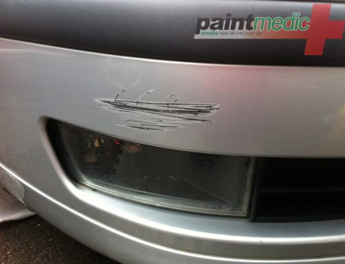 Bumper scratch before Paintmedic repair