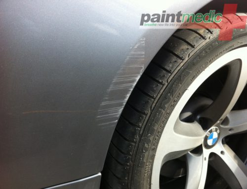 Car scratch before Paintmedic repair