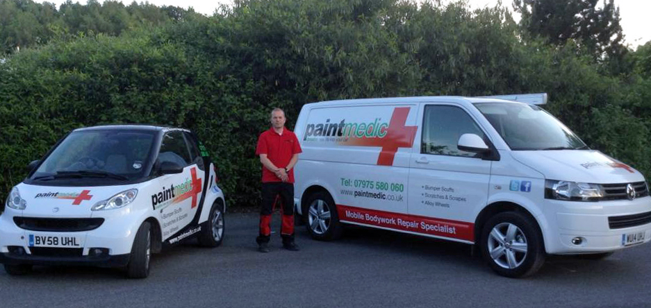 Paul from Paintmedic with car and van