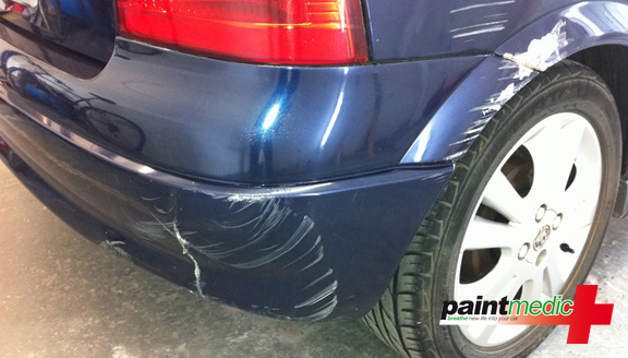 Paintmedic – rear car bumper damage before scratch repair